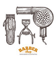 set barbeshop tools and accessories vector image vector image