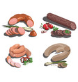 set cartoon food stylized raw meat vector image vector image