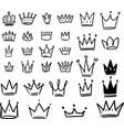 set crown in sketching style corona symbols vector image