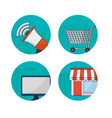 set of digital marketing icons vector image