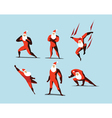 set of Superhero Santa Claus actions different vector image vector image