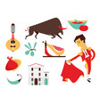 set spain icons flat modern style isolated vector image vector image
