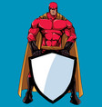 superhero holding shield vector image