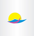tourism sun water and beach summer icon vector image