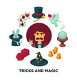 trick and magic promotional poster with magician vector image vector image
