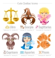 Zodiac astrological signs icon set Cute cartoon vector image