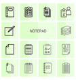 14 notepad icons vector image vector image
