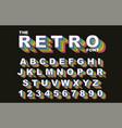 80 s retro alphabet font rainbow vintage alphabet vector image vector image