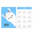 alpaca llama girl simple pocket calendar layout vector image