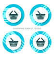 blue shopping basket icons vector image vector image