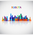 bogota skyline silhouette in colorful geometric vector image vector image