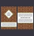 brochure with vintage brown swirl pattern vector image