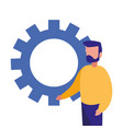 businessman and gear work vector image