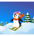 Cartoon penguin skiing down a mountain slope vector image vector image
