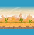 cartoon sand and stone rocks desert landscape vector image vector image