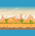 cartoon sand and stone rocks desert landscape with vector image