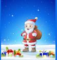cartoon santa bringing sack in the winter backgrou vector image vector image