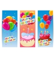 Color Glossy Happy Birthday Balloons and Cake vector image vector image