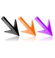 colored diagonal down 3d arrows shiny bright vector image vector image