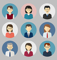 Colorful business people face Circle icons set vector image