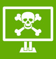 computer monitor with a skull and bones icon green vector image vector image