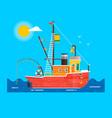 cool flat design fishing boat seaway vector image vector image