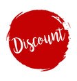 discount grunge style red colored on white vector image