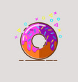 donut delicious with sprinkles on background vector image