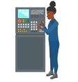 Engineer standing near control panel vector image vector image