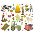 farmers do agricultural work planting vector image