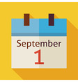 Flat Back to School September Calendar with long vector image