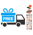 gift delivery icon with lovely bonus vector image vector image