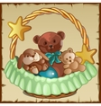 Group of small Teddy friends sits in a basket vector image vector image