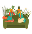 happy girls friends together sitting on couch vector image