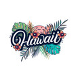 Hawaii hand written lettering with palm