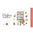 man decorate window with christmas landing page vector image vector image