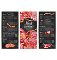 menu or price list for butchery shop meat vector image vector image