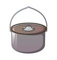 metal cauldron for camp icon cartoon style vector image
