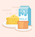 milk box with food products vector image
