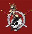 Ninja Girl with Double Sword Pin Up vector image vector image