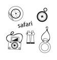 outline safari set on white background vector image vector image