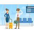 pilot and stewardess professional aviation crew vector image