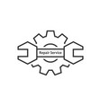 repair service with thin line wrench and gear vector image vector image