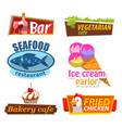 restaurant logotype bar and cafe board vector image