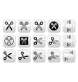 Scissors with cut lines icons set vector image vector image