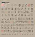 set 100 minimal modern thin stroke black icons vector image