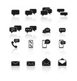 set message communication icons with reflection vector image vector image