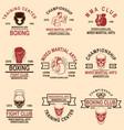 set mma and boxing club emblems design element vector image vector image