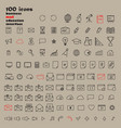 set of 100 minimal modern thin stroke black icons vector image
