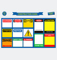 set of construction sign template vector image vector image